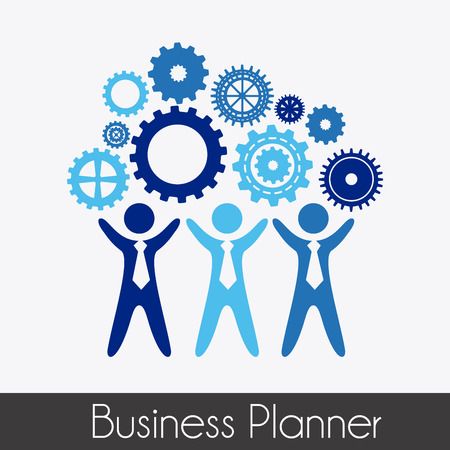 empleos: planificador de negocios sobre fondo gris ilustración vectorial Vectores