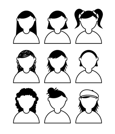 people icons over white background vector illustration
