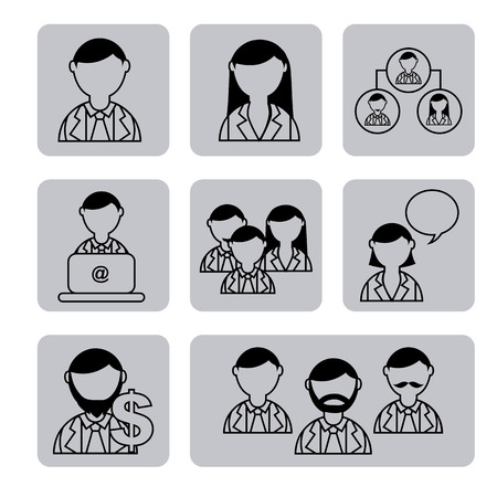 business people over white background vector illustration Vector
