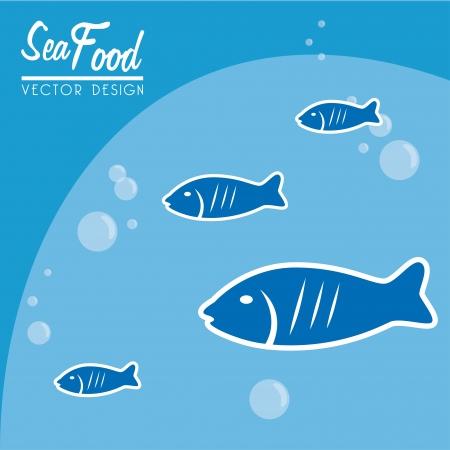 sea food over blue background vector illustration  Vector