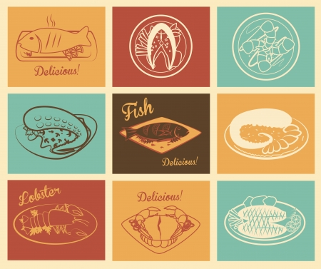 sea food over colorful background vector illustration  Vector