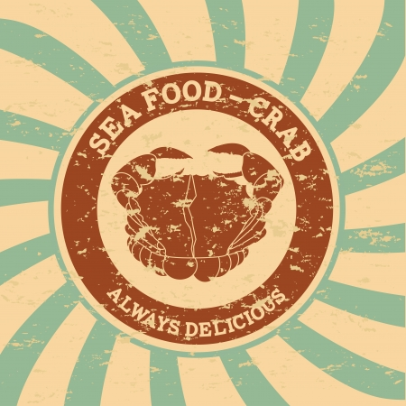 crab meat: sea food over grunge background vector illustration  Illustration