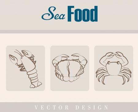 sea food: sea food over beige background vector illustration