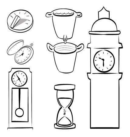 ding dong: time icons over white background vector illustration Illustration