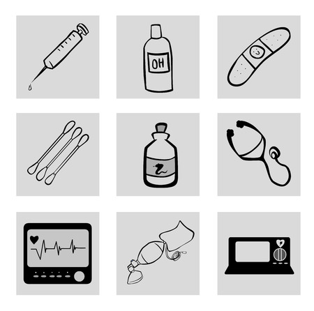 medical icons over white background vector illustration Vector