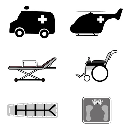 operating room: medical icons over white background vector illustration