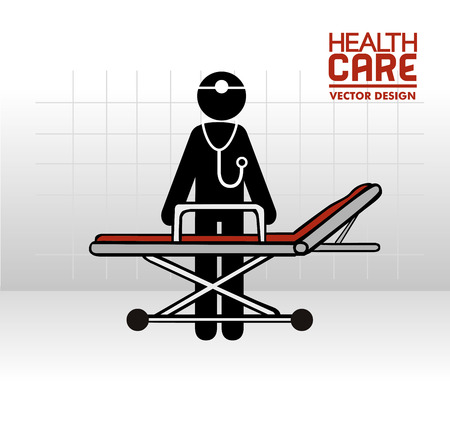 poster bed: medical design over gray background vector illustration