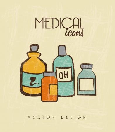 oxygenated: medical icons over beige background vector illustration Illustration