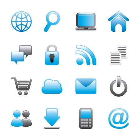 the internet: icone di internet su sfondo bianco illustrazione vettoriale Vettoriali