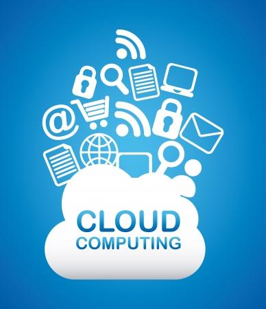 cons: cloud computing over blue background vector illustration Illustration