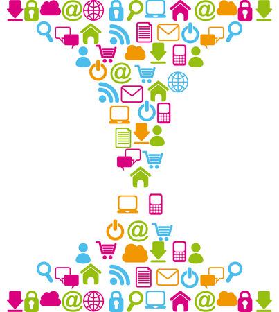 internet icons over white background vector illustration Ilustração