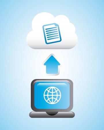 cloud computing over blue background vector illustration Illustration