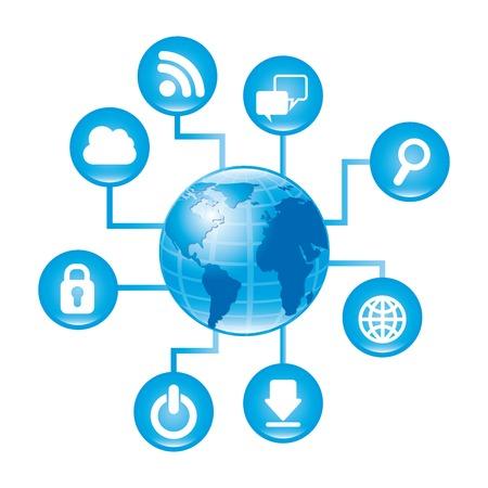Internet-Symbole auf weißem Hintergrund Vektor-Illustration