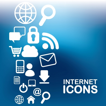 internet icons over  blue background vector illustration Vector