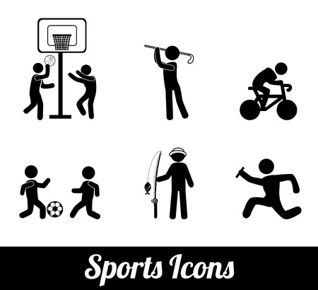 runing: Iconos de deporte de dise�o sobre fondo blanco ilustraci�n vectorial