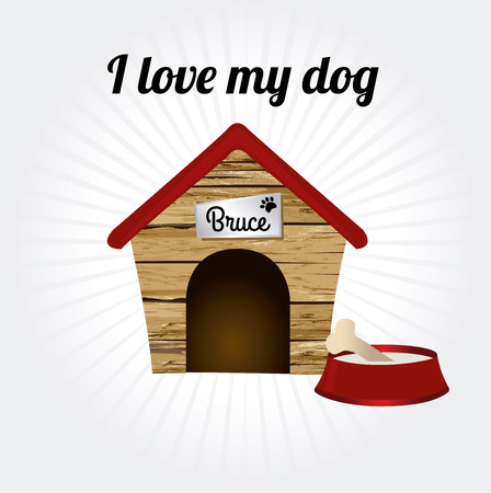 i love my dog over gray background vector illustration Vector