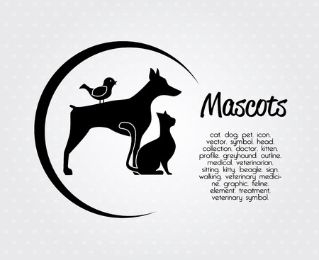 huisdieren ontwerp over gestippelde achtergrond vector illustratie