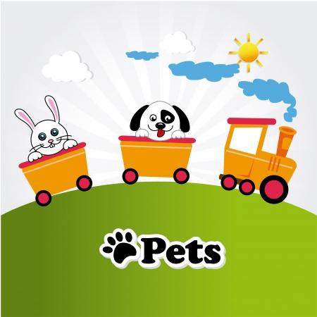 yoy: pets design  over landscape background vector illustration Illustration