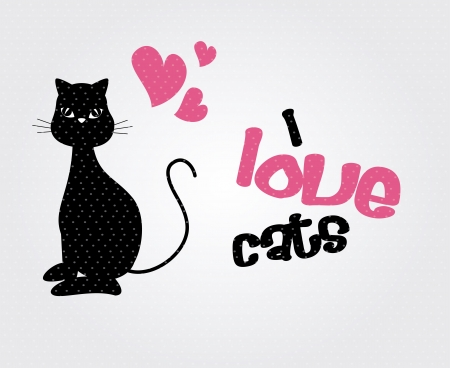 i love cats over gray background vector illustration Vector
