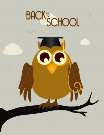 back to school owl over beige background, vector illustration Vector