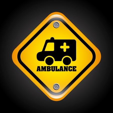 ambulance signal over black background vector illustration Stock Vector - 22750618