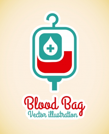 blood bag  over pink background vector illustration Vector