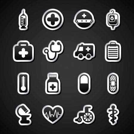 intensive care: healthy icons over black background vector illustration
