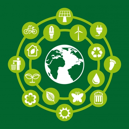 ecologic: protect the environment over green background vector illustration   Illustration