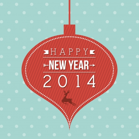 happy new year 2014 over dotted background  vector illustration Stock Vector - 22750728