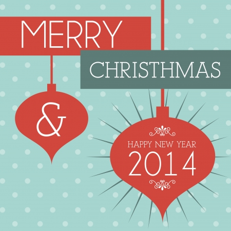 merry christmas and happy new year  over dotted background  vector illustration  Stock Vector - 22750729