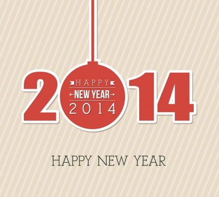 happy new year 2014 over lineal background  vector illustration Stock Vector - 22750731