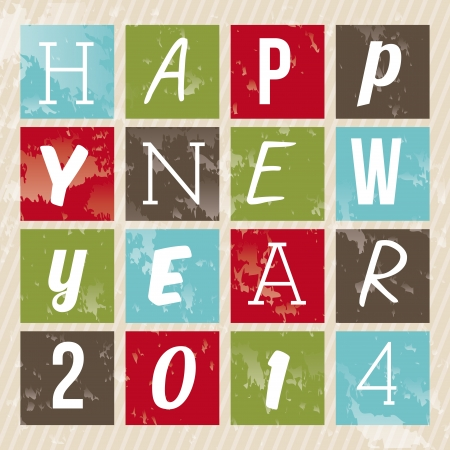happy new year 2014 over lineal  background  vector illustration Stock Vector - 22750734