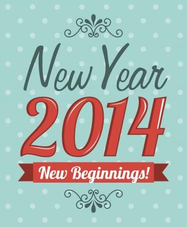 kezdetek: Boldog új évet 2014 fölött pontozott háttér vektoros illusztráció Illusztráció