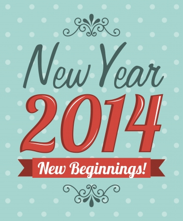 happy new year 2014 over dotted background  vector illustration  Illustration
