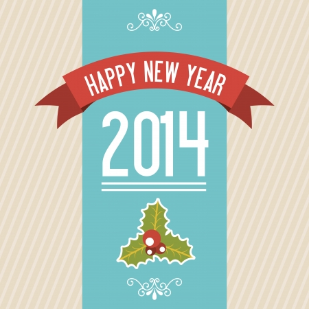 happy new year 2014 over lineal  background  vector illustration  Vector