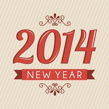 happy new year 2014 over lineal  background  vector illustration  Stock Vector - 22750740