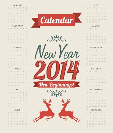happy new year 2014 over beige  background  vector illustration
