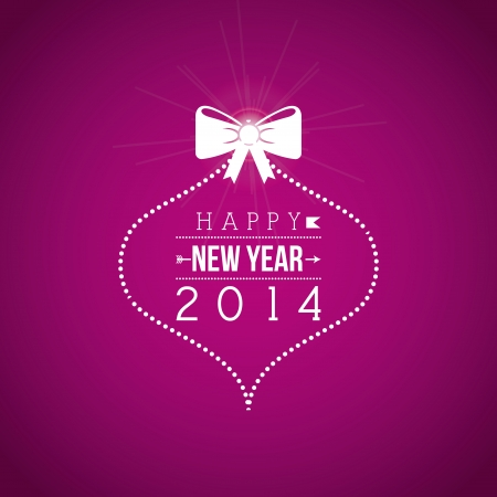 happy new year 2014 over purple background  vector illustration  Vector