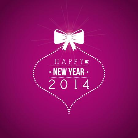 happy new year 2014 over purple background  vector illustration  Illustration