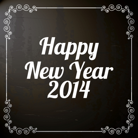 happy new year 2014 over black background vector illustration