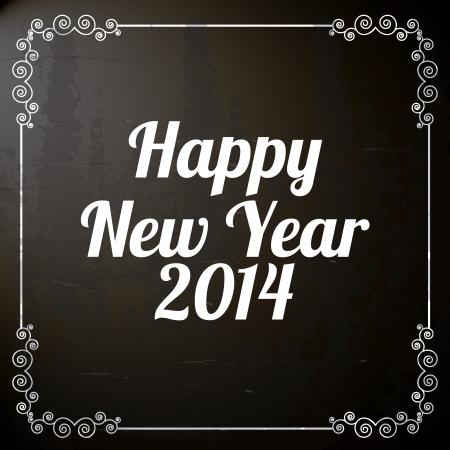 happy new year 2014 over black  background  vector illustration   Illustration