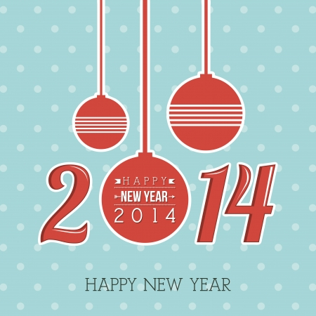 happy new year 2014 over dotted background  vector illustration Stock Vector - 22750751