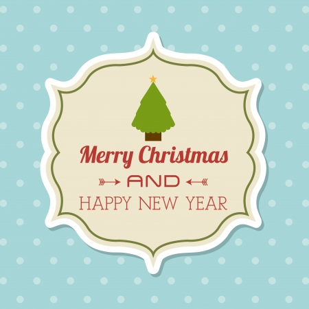 merry christmas and happy new year  over dotted background  vector illustration Stock Vector - 22750753