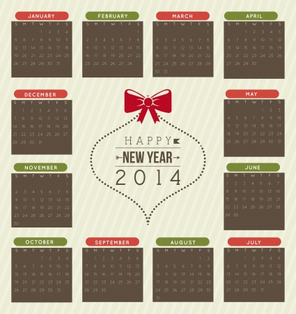 happy new year 2014 over beige  background  vector illustration  Stock Vector - 22750757