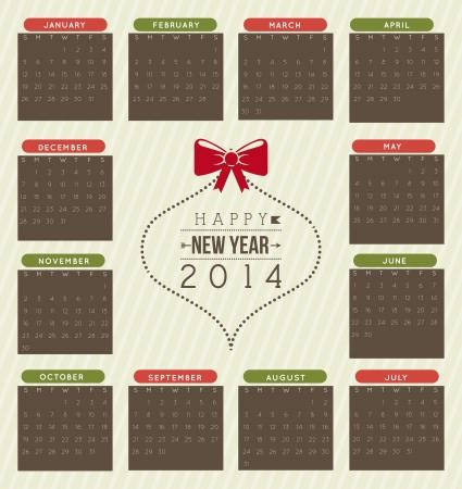 happy new year 2014 over beige  background  vector illustration Stock Vector - 22750757