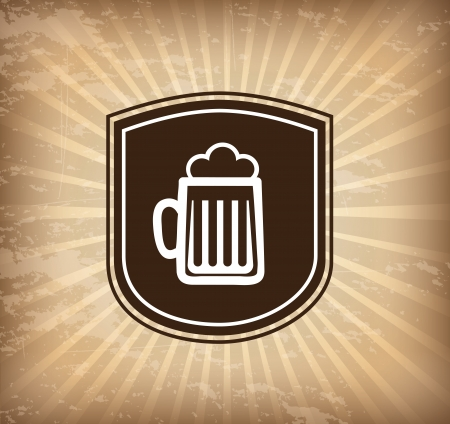 beer label over grunge background vector illustration Stock Vector - 22959852
