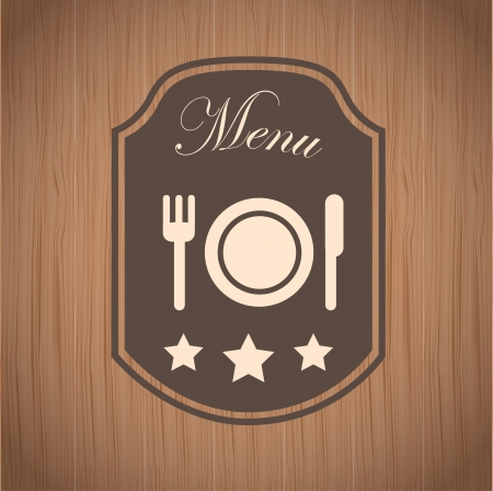 menu label over wooden background vector illustration