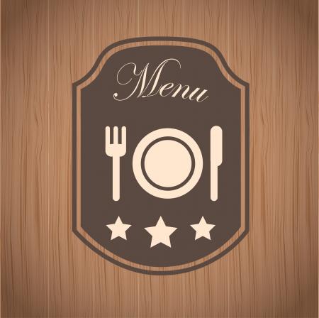TIquette de menu sur bois de fond illustration vectorielle Banque d'images - 22959882