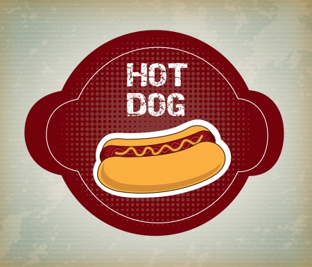hot dog label over pattern background vector illustration Vector