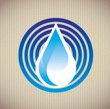 ahorrar agua: natural del agua sobre fondo beige ilustraci�n vectorial